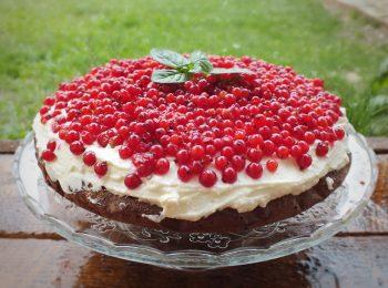 Makova torta s mascarpone kremom, ribezlami a ozdobena matovymi listkami na tortovom podstavci.