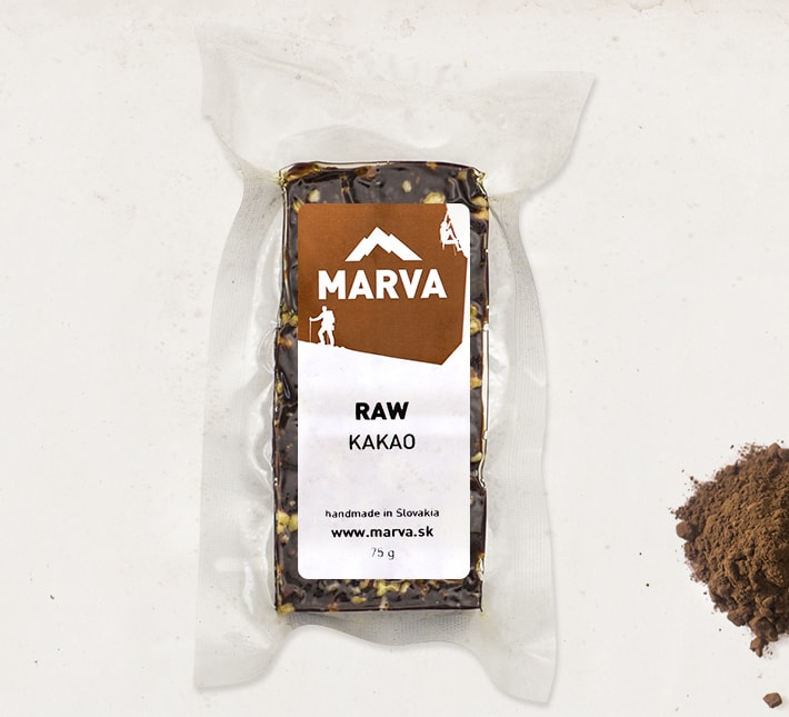 MARVA tycinka RAW kakao v obale s kopkou kakaa